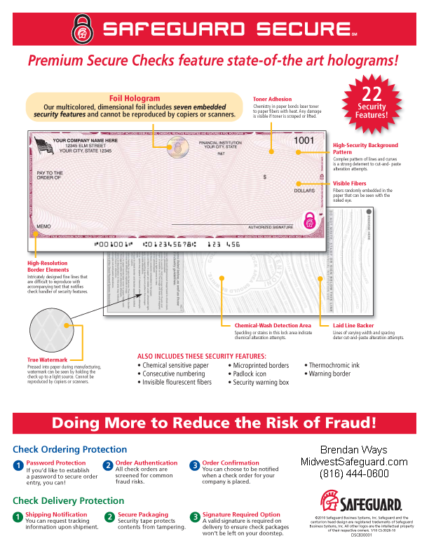 Security features premium secure hologram laser checks